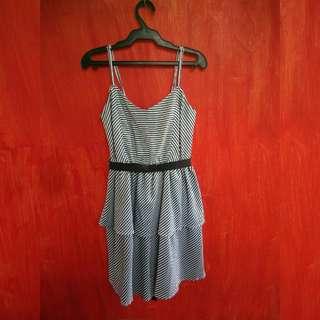 B&W Striped Peplum Dress