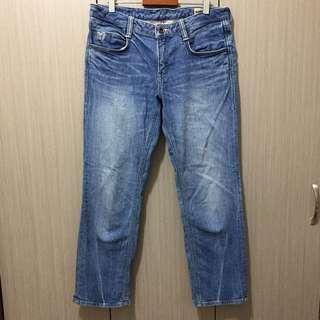 BRAPPERS中藍色中低腰刷色寬鬆直筒BF牛仔褲九分八分褲