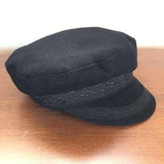 Black lace trim captain's cap