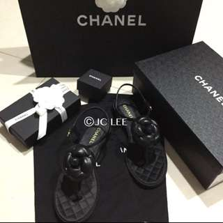 Chanel山茶花涼鞋/37號/全新正品