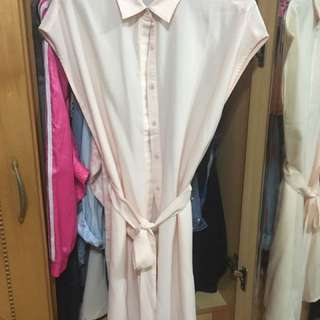 東京著衣 KODZ 知性美感附綁帶包袖長版襯衫 #雙十一女裝出清