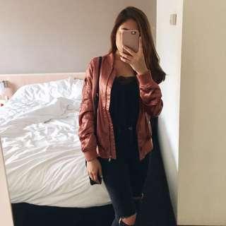 Rose Gold Satin Bomber Jacket
