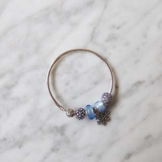 Pandora Bangle and Blue Tone Charms set