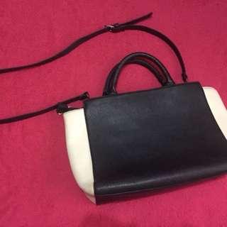 Stradivarius Medium Satchel Bag (Blue-White)