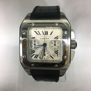 Cartier, A Gent's White Gold & S/Steel Santos 100 Extra Large Chronograph Automatic Watch. Model Number : W20090X8. Individual Number : 2740841939CE.  With Box & Certificate.