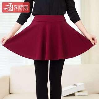 INSTOCK Wine Red Skater Skirt