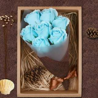 Christmas special! Scented blue soap rose flower bouquet