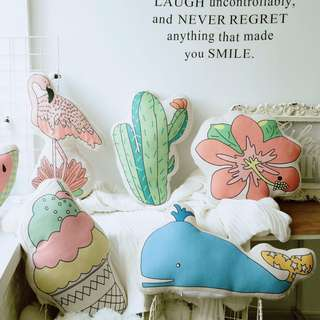 Cute Pastel Color Cactus Ice Cream Watermelon Flowe Flamingo pillow cushion Toy Doll Birthday Gift