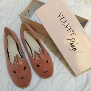 VELVET PLAY - Bunny Embroidered Slip On Flats