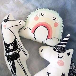 Cute Pastel Color Cotton Nordic Unicorn Rainbow Cloud Rabit Bear Fox pillow cushion Toy Doll Birthday Gift