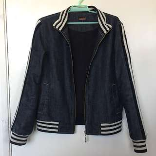 Denim Jacket with Striped Accents