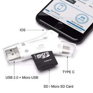 新款Y形 4 in 1 USB 2.0 i-Flash Drive HD Card Reader 支援 SDHC / Micro SD / TF 可直接播放讀寫檔案 ios10