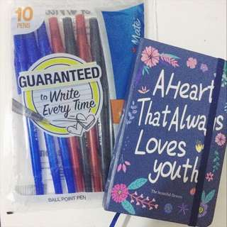 Journaling Starter Pack: Blue Notebook and PaperMate Pens