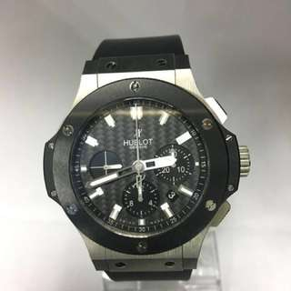 Hublot, A limited black ceramic & s/steel Big Bang Chronograph Automatic Watch. Model Number : 301.SM.1770.RX.  Individual Number : 950018.  With Box & Certificate.