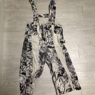 美式古著吊帶褲