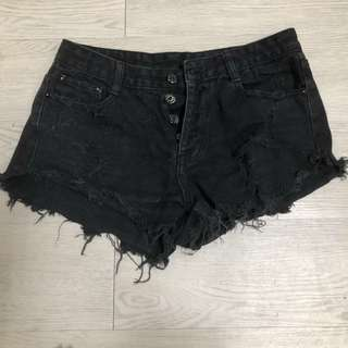 牛仔高腰短褲(L)