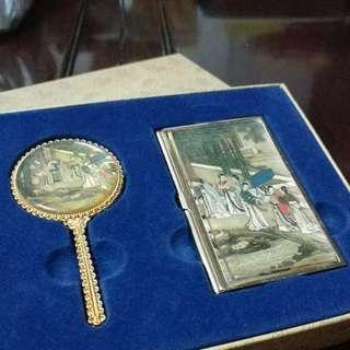 中國手信套裝 鏡子和名片盒