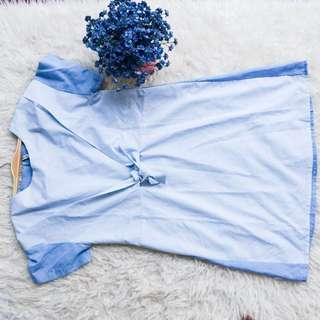 Baju Dress Number 61 Garis Biru