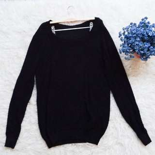 Baju Sweater Knit Number 61 Hitam