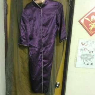 破盤) 訂製款的6分袖亮紫色旗袍