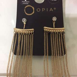 Opia gold earrings front & back
