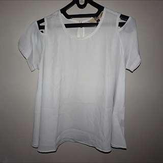 White Cut Out Shoulder Blouse