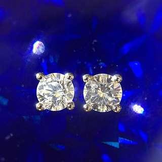 18K金 天然鑽石 0.32ct X 2 耳環 耳釘 一對