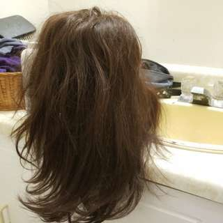 real hair long dark brown wig