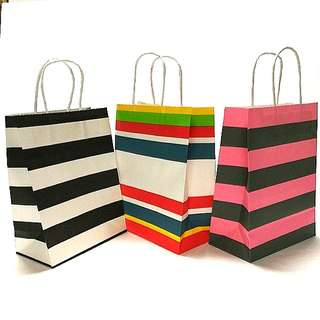 (M) Paper Carrier Bag, Twisted Paper Rope Handled  ↪ Stripe Color 🛍🛍  💱 $7.50 Each Packet - 10 Pieces