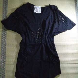 Love Fortune Oversized Black Top/Dress