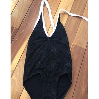 Girls sparkly black and white halter leotard dance costume