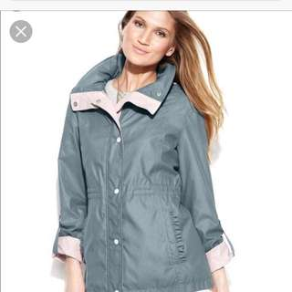 Grey and pink rain coat