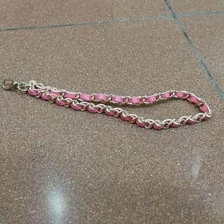 粉紅紫色電話鏈鎖匙扣拉鍊扣