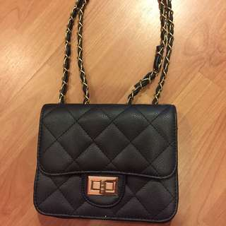 Black Quilt Chain Handbag