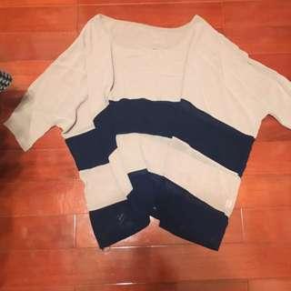 裸粉飛鼠袖條紋雪紡 #轉轉來交換 #一百元上衣 #兩百元雪紡#交換最划算