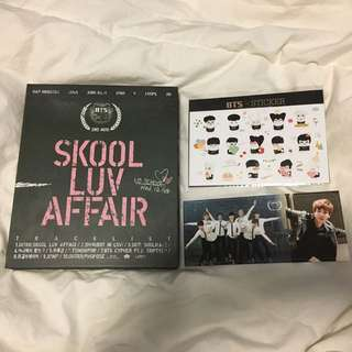 bts skool luv affair + stickers + jin pc