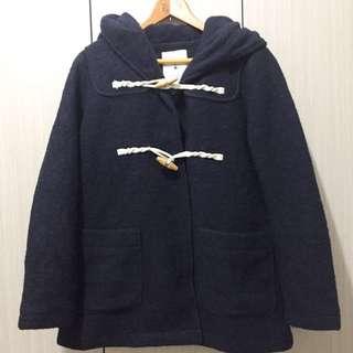niko and 日牌復古古著日系經典學院風藏青色深藍色羊毛毛呢寬鬆連帽牛角釦木釦大衣外套