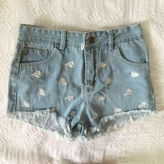 Light Blue Distressed Denim Shorts with Bunny Embroidery