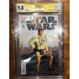 CGC SS 9.8 Star Wars 1 Luke Skywalker Photo Variant Movie Cover Signed by Mark Hamill