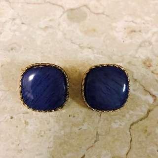 全新有型寶藍方形復古Aldo 耳環