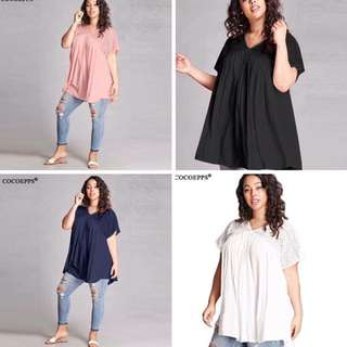 Embroidered shoulder blouse plus size