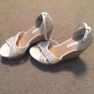 Size 37/6.5 white wedges