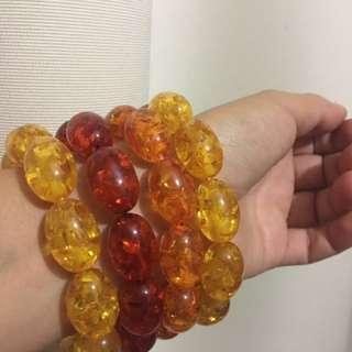 Set of 4 Amber Bracelets for Women