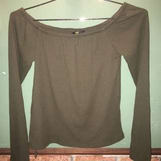 Army Green Off Shoulder Top