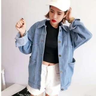 韓版寬鬆顯瘦百搭休閒BF風大口袋牛仔外套