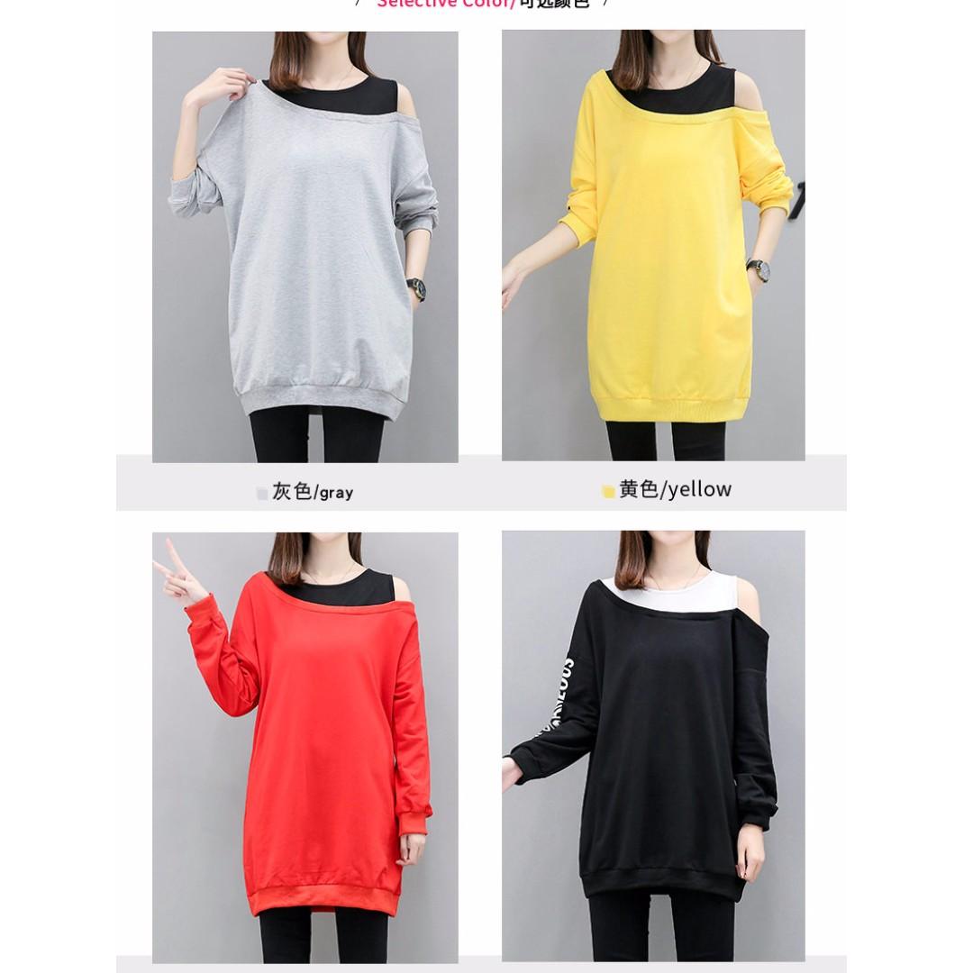大碼時尚簡約顯瘦遮肚性感露肩假兩件日韓版寬鬆中長款上衣衛衣(4色)