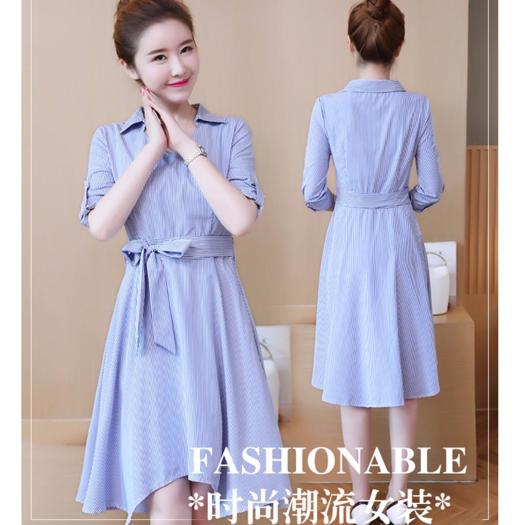 時尚百搭潮流顯瘦簡約條紋繫結不規則下擺韓版連衣裙(藍色)