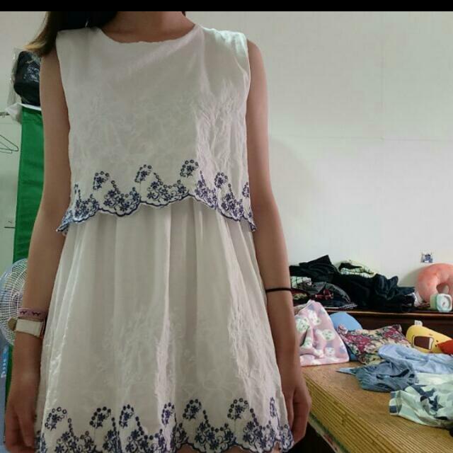 波西米亞風洋裝-白色