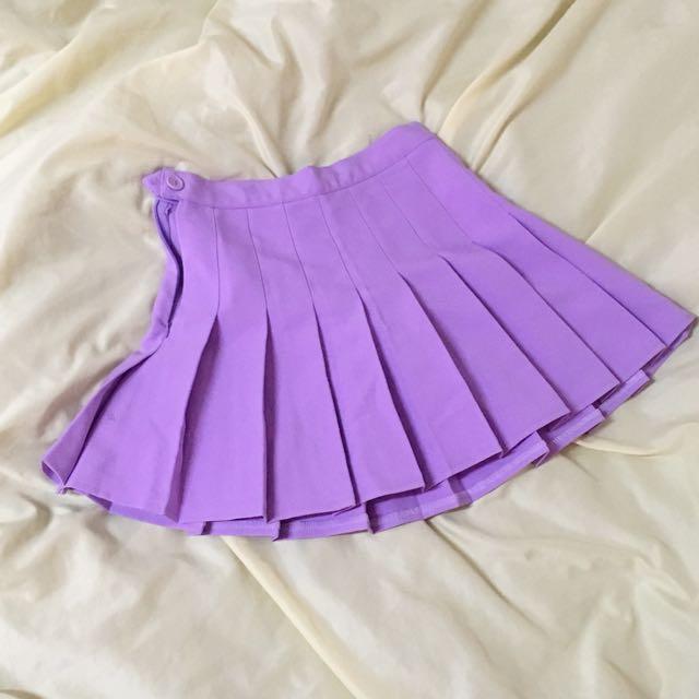 紫色高腰百摺裙