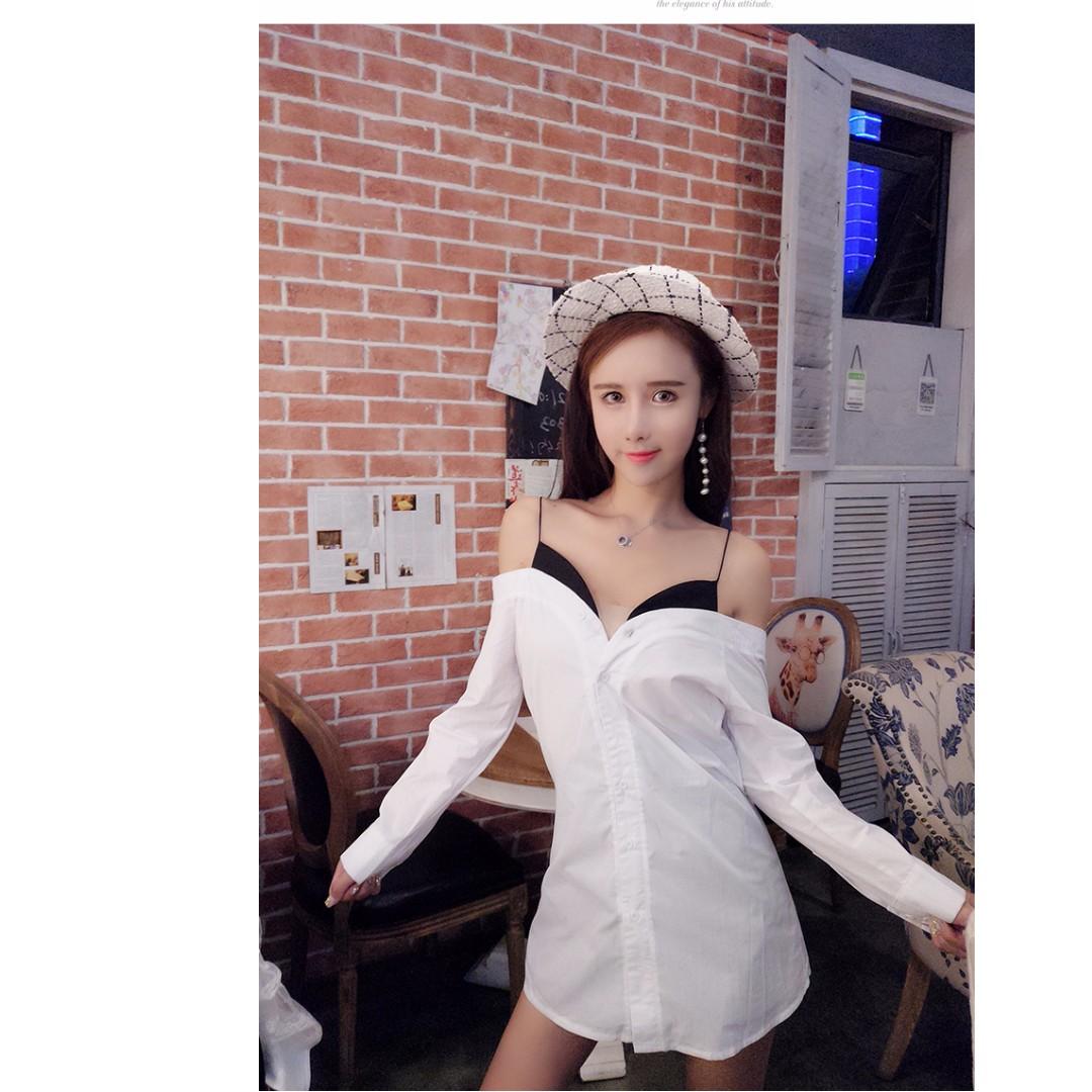 韓版名媛清純吊帶露肩拼接假兩件寬鬆休閒襯衣襯衫連衣裙女